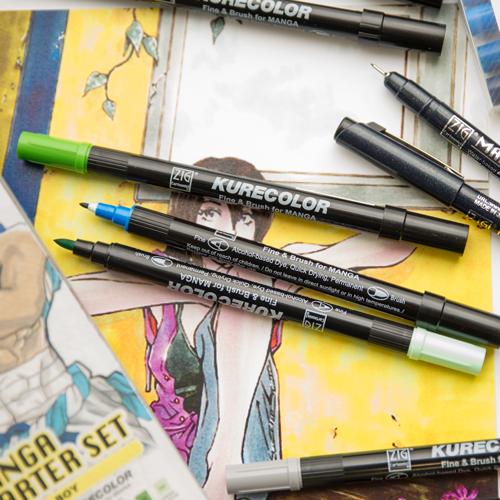 Brush Pen Kuretake Kurecolor Fine & Brush for Manga