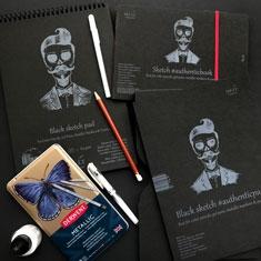 Blok Czarny Papier SMLT Black Sketch Pad 165 gsm