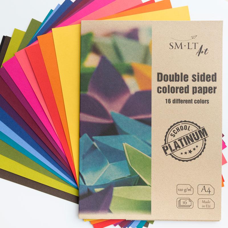 Teczka z Kolorowym Papierem SMLT School Platinium Double Sided Colored Paper 120 gsm