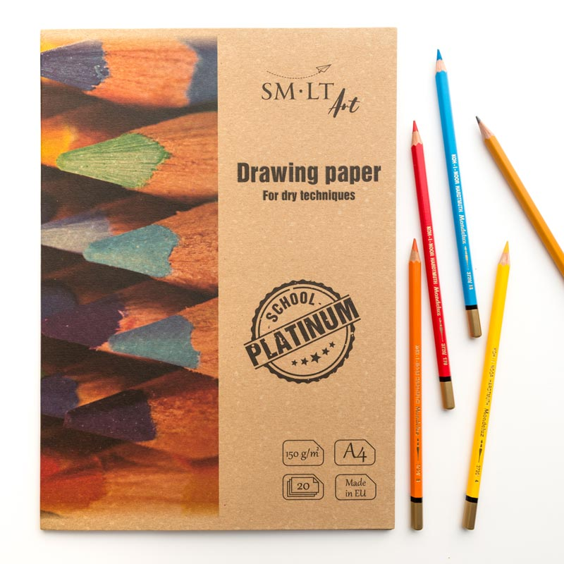Teczka z Papierem Rysunkowym SMLT Art School Platinium Drawing Paper 150 gsm
