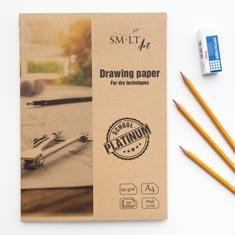 Teczka z Papierem Rysunkowym SMLT Art School Platinium Drawing Paper 190 gsm
