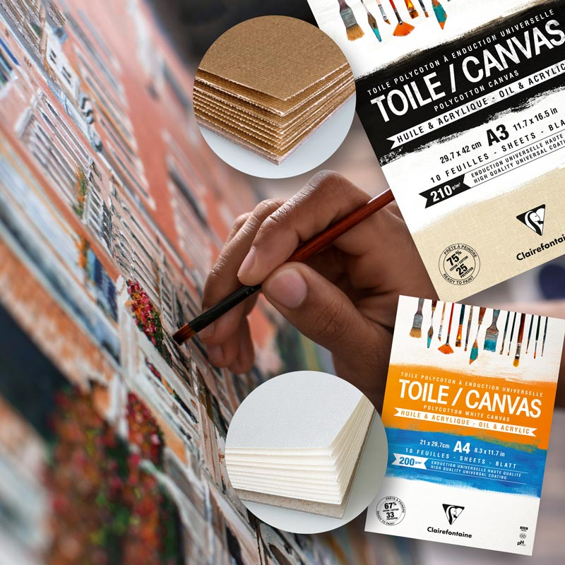 Płótno Malarskie w Bloku Clairefontaine Toile Polycotton Canvas