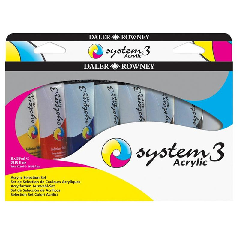 Farby Akrylowe Daler-Rowney System 3 Selection Set 8 x 59 ml