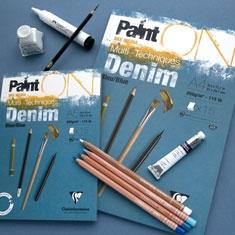 Paint On Denim Blue Clairefontaine   Blok Mix Media 250 gsm