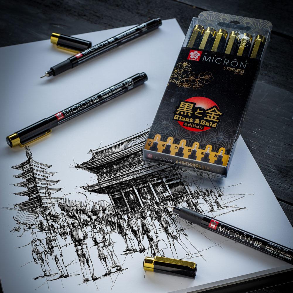 Cienkopisy Sakura Pigma Micron Black & Gold Edition