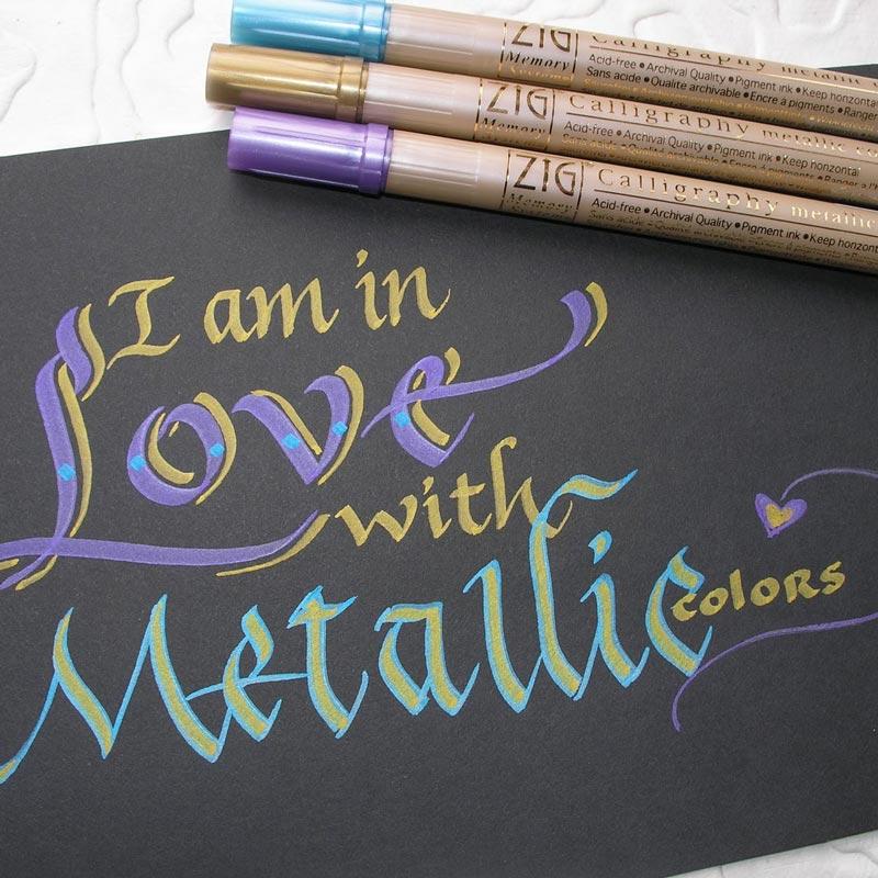 Pisaki do Kaligrafii Kuretake Zig Writer Metallic Colours MS-8000