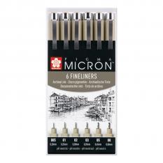 CIENKOPISY SAKURA PIGMA MICRON 6 BLACK SET POXSDK6
