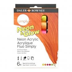 Farby Świecące w Ciemności Daler Rowney Simply Neon & Glow 6 x 12 ml 126500306