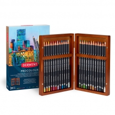 KREDKI DERWENT PROCOLOUR 24 WOODEN BOX 2302585