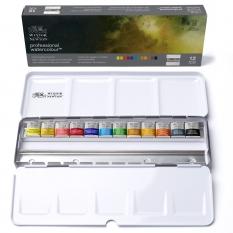 Farby Akwarelowe Winsor & Newton Professional Water Colour 12 Half Pans Black Box