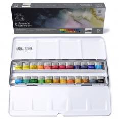 Farby Akwarelowe Winsor & Newton Professional Water Colour 24 Half Pans Lightweight Sketchers Box