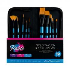 PĘDZLE PABLO GOLD TAKLON BRUSH ZIP CASE 10 GTBS1024
