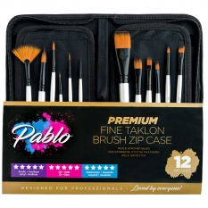 PĘDZLE PABLO PRERMIUM FINE TAKLON BRUSH ZIP CASE 12 PB1024