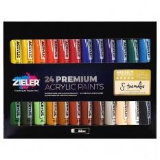 Farby Akrylowe Zieler Premium Acrylic Paints 24 x 22 ml set 07290014