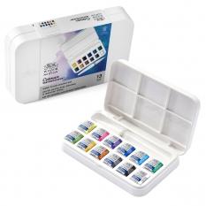 Farby Akwarelowe Winsor & Newton Cotman 12 Half Pan Brush Pen Set 0390658