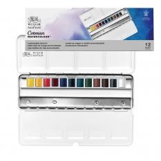 Farby Akwarelowe Winsor & Newton Cotman 12 Half Pan Blue Box Metal 0390453
