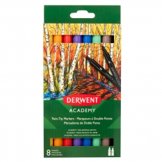 FLAMASTRY DERWENT ACADEMY TWIN TIP MARKERS 8 98206