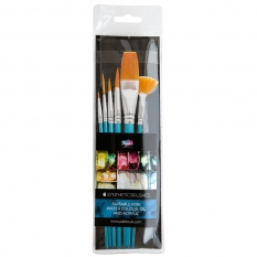 PĘDZLE PABLO 6 SYNTHETIC BRUSHES WATER COLOUR OIL & ACRYLIC SHORT BLUE HAND 15225-WOA