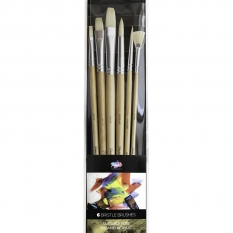 PĘDZLE PABLO 6 BRISTLE BRUSHES OIL & ACRYLIC LONG WOODEN HAND 15300-BB