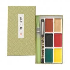 Farby Kuretake Gansai Tambi Irodori Kobako 6 Green set MC23-12