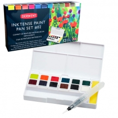 ZESTAW DERWENT INKTENSE PAINT PAN 12 TRAVEL SET PALETTE 02 2305789