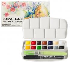 Farby Kuretake Gansai Tambi Portable 14 Colors set