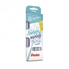 Zestaw Brush Pen Pentel Touch 4 Niebieskie Migdały