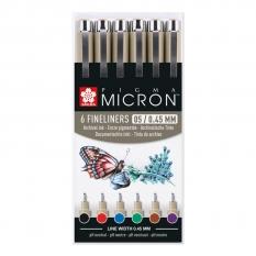 Cienkopisy Sakura Pigma Micron 6 X 05 Mm Basic Colours Poxsdk056a
