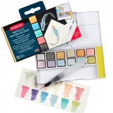 Farba Akwarelowa Derwent Metallic Paint 12 Pan Palette 2305657