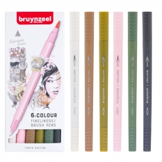 Pisaki Bruynzeel Fineliners Brush Pens 6 Tokyo