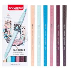 Pisaki Bruynzeel Fineliners Brush Pens 6 Venice
