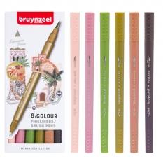 Pisaki Bruynzeel Fineliners Brush Pens 6 Marrakesh