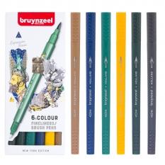 Pisaki Bruynzeel Fineliners Brush Pens 6 New York