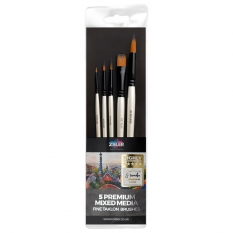 Pędzle Zieler Fine Taklon Brushes Set 5 Premium Mixed Media 09299266