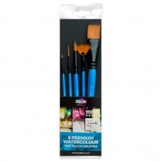 Pędzle Do Akwareli Zieler 5 Premium Watercolour Fine Taklon Brushes Set 09299267