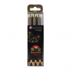 Cienkopisy Sakura Pigma Micron Black & Gold Edition 3 Poxsdkb3yos