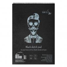 Blok SMLT Art Black Sketch Pad 165 gsm 30 ark. Kostek A3 Spirala 3EB-30TS/BLACK