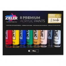 Farby Akrylowe Zieler Premium Acrylic Paints 8 x 75 ml set 09299302