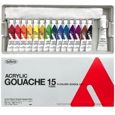 Gwasze Akrylowe Holbein Acrylic Gouache School 15 set 14 x 12 ml + 20 ml Titanium White D987