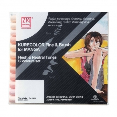 ZESTAW KURETAKE KURECOLOR FINE & BRUSH FOR MANGA 12 SKIN TONES 12VFN