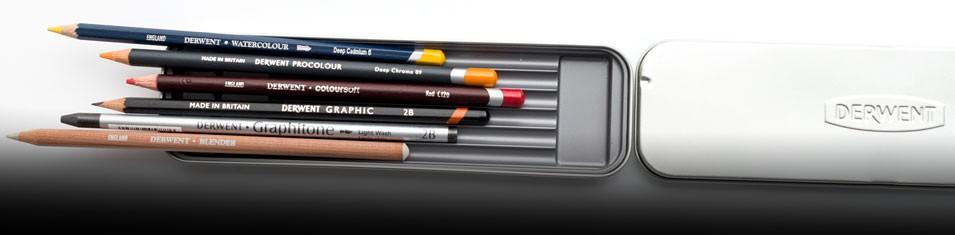 Do 6 kredek lub ołówków Derwent metalowy piórnik gratis!